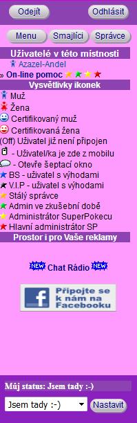 Postrnní panel místnosti na SuperPokec - Chat Rádio