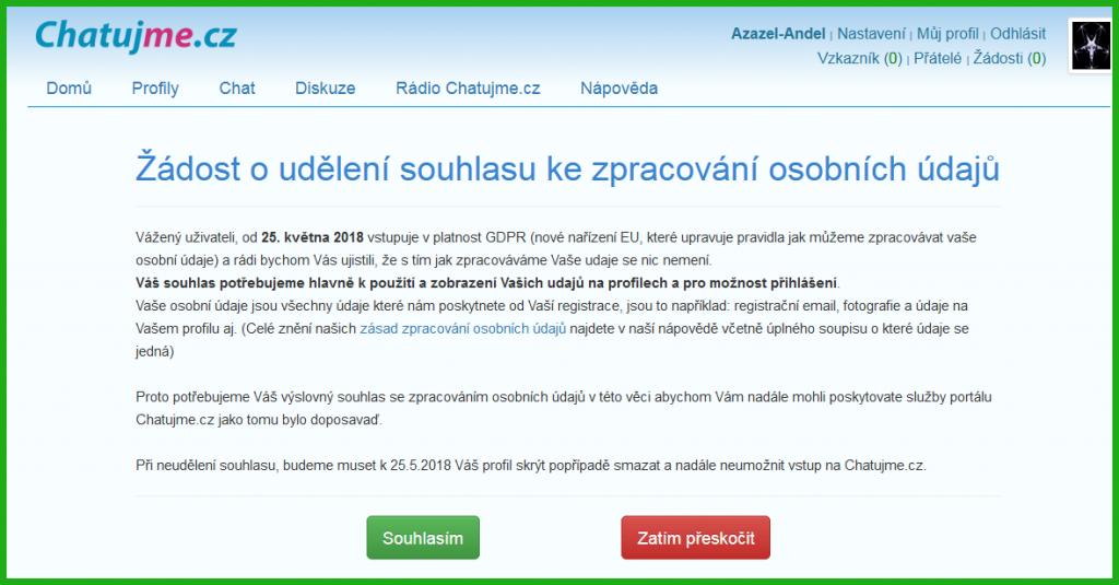 Žádost o udělení souhlasu ke zpracování osobních údajů na Chatujme.cz