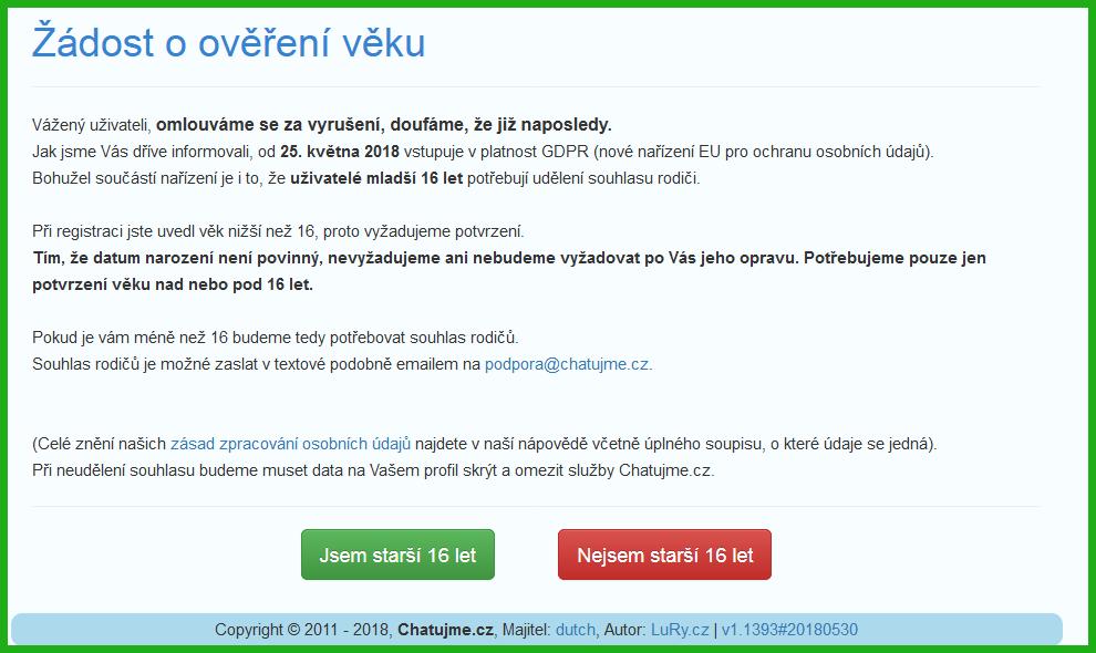 Žádost o ověření věku na Chatujme.cz