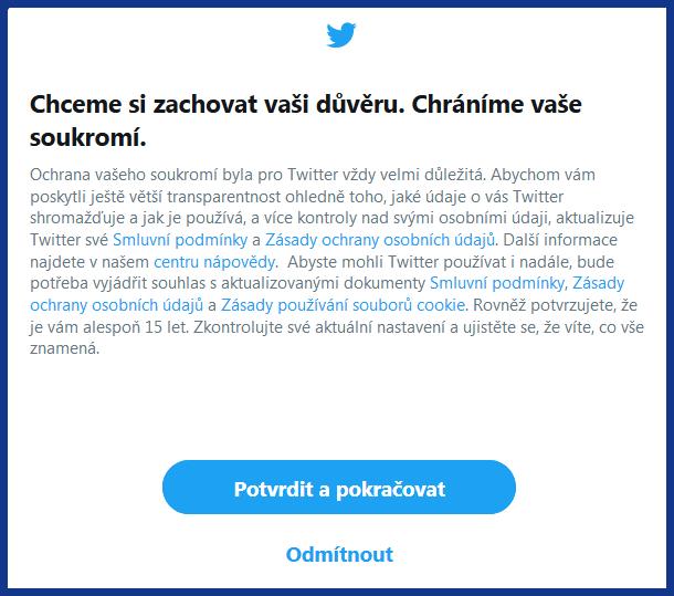 Nové Smluvní podmínky a Zásady ochrany osobních údajů - Twitter