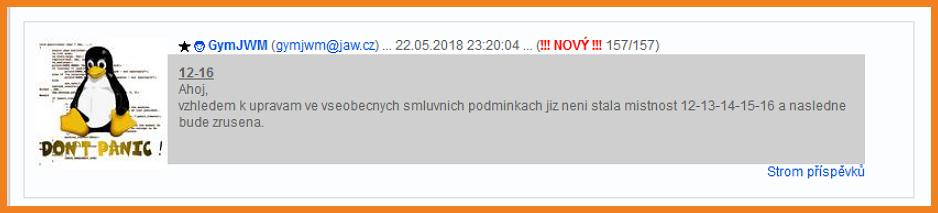 Oznámení spolumajitele XChatu o rušení a přejmenování místností vzhledem k novým Všeobecným podmínkám