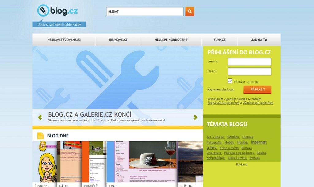 Jak vypadala úvodní strana Blog.cz