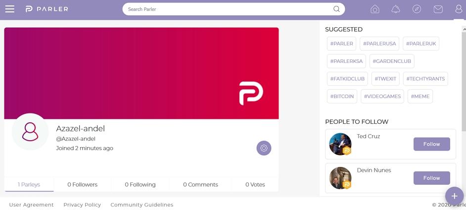 Profil na Parler.com