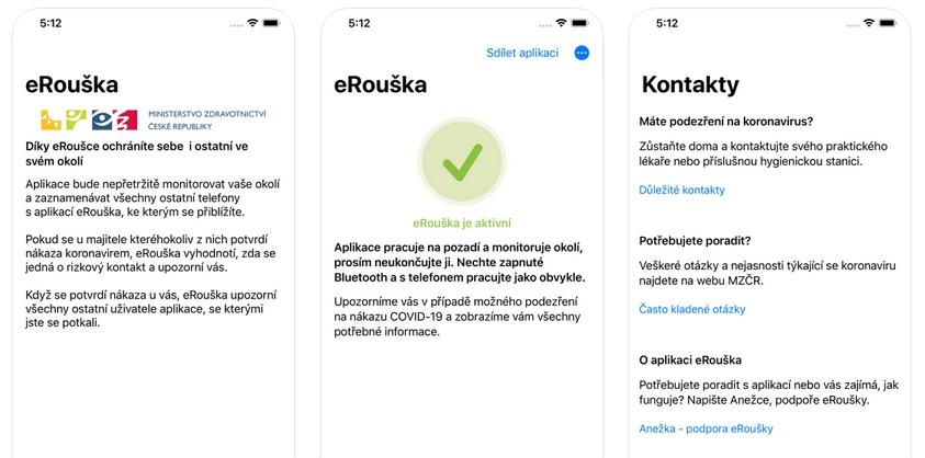 Ukázka zobrazení Aplikace eRouška 2.0 v mobilním telefonu.