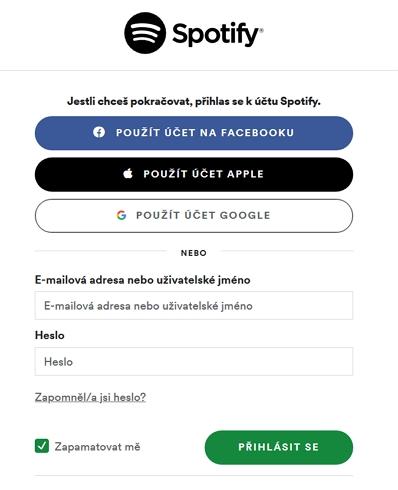 Přihlašovací stránnka Spotify