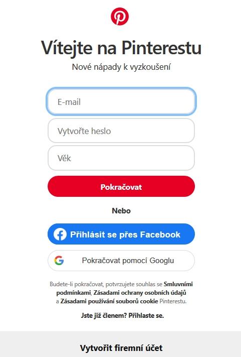 Registrace a přihlášení na Pinterest