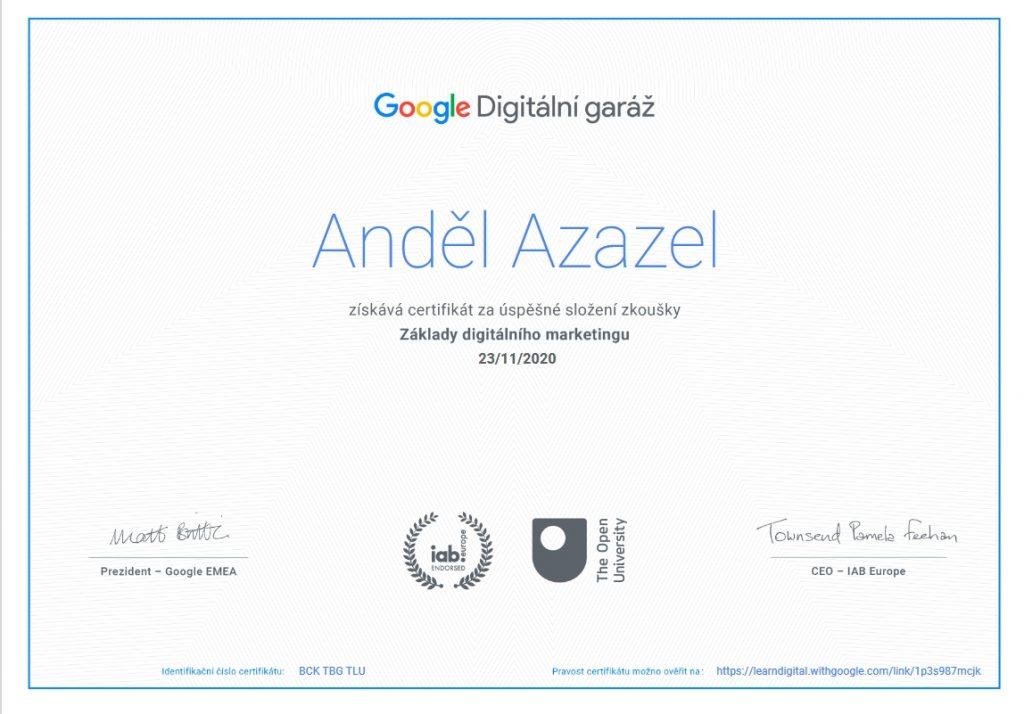 Google Digitální garáž - Certifikát Anděla Azazela