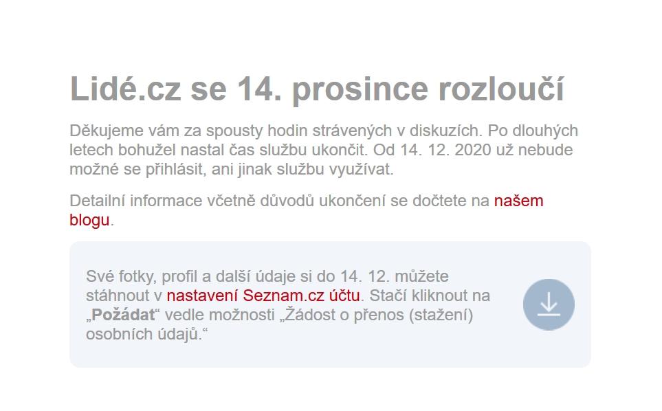 Oznámení o konci Lidé.cz