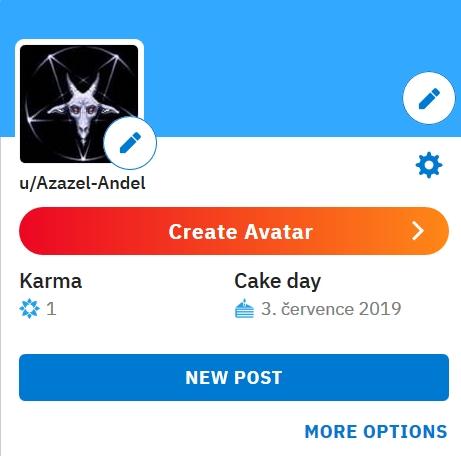 Reddit profil Anděla Azazela