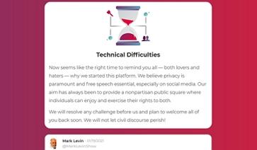 Parler - Technické potíže