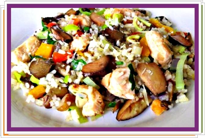 Rýže s lososem a hříbky
