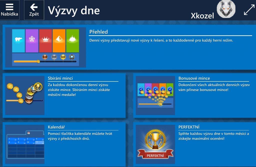 Výzvy dne - Microsoft Solitaire Collection
