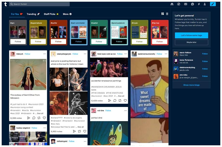 Tumblr - Panel nabídek Pro Tebe
