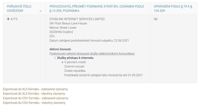 Český telekomunikační úřad - STARLINK INTERNET SERVICES LIMITED